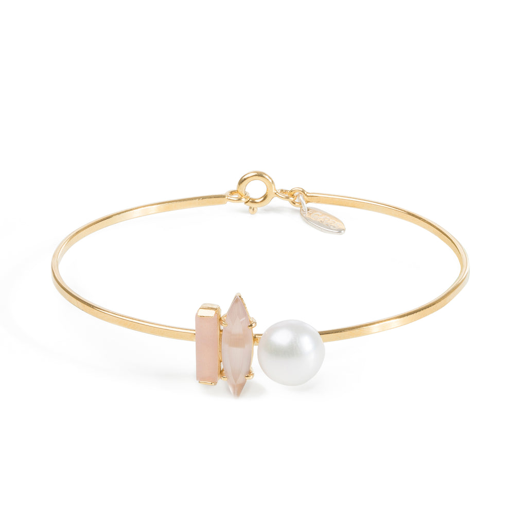 Delicate Bracelet with Sunstone and Pearl