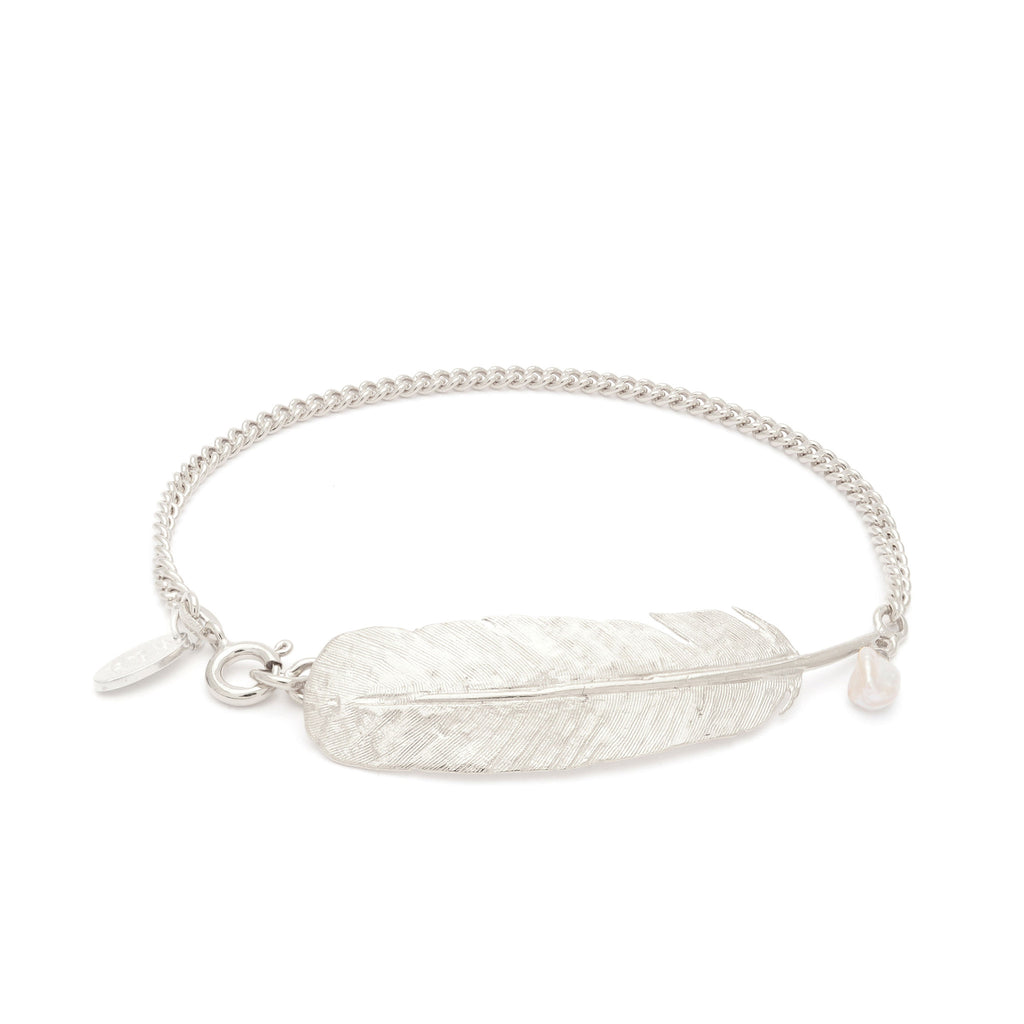 Sterling Silver feather bracelet with Freshwater Pearl