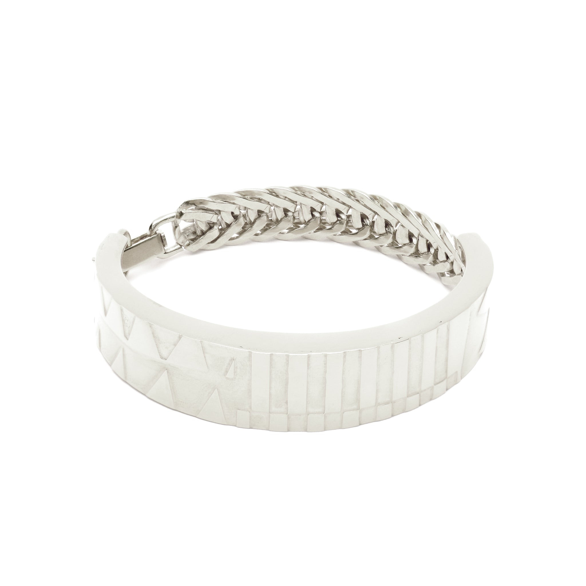 Etched Statement Bracelet with Chain and clasp