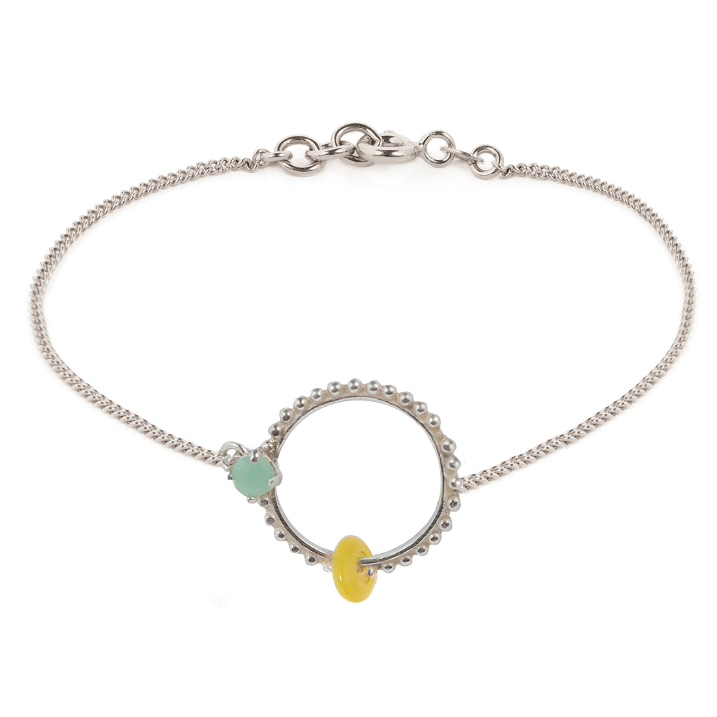 Delicate Bracelet with Chrysoprase and yellow glass bead
