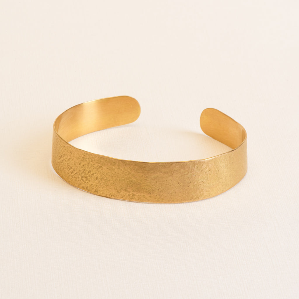 18kt Gold hammered statement cuff Bracelet