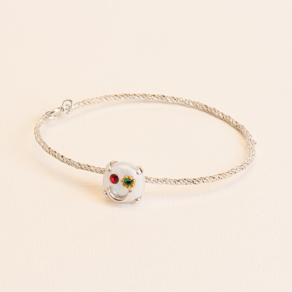 Fine smiley Bracelet with Freshwater Pearl