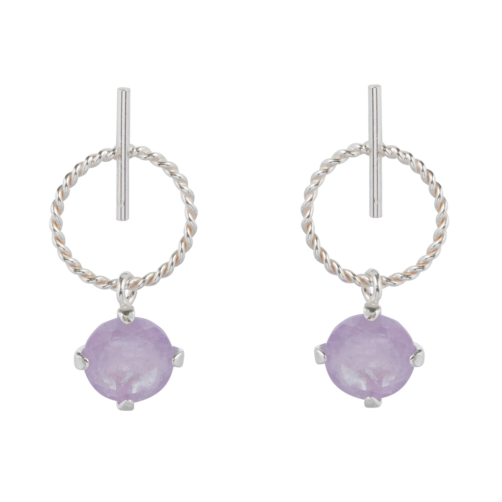 Stud Earrings with hoop and milky Amethyst