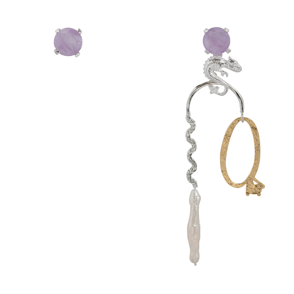 Mixed Earrings with milky Amethyst, dragon and ring