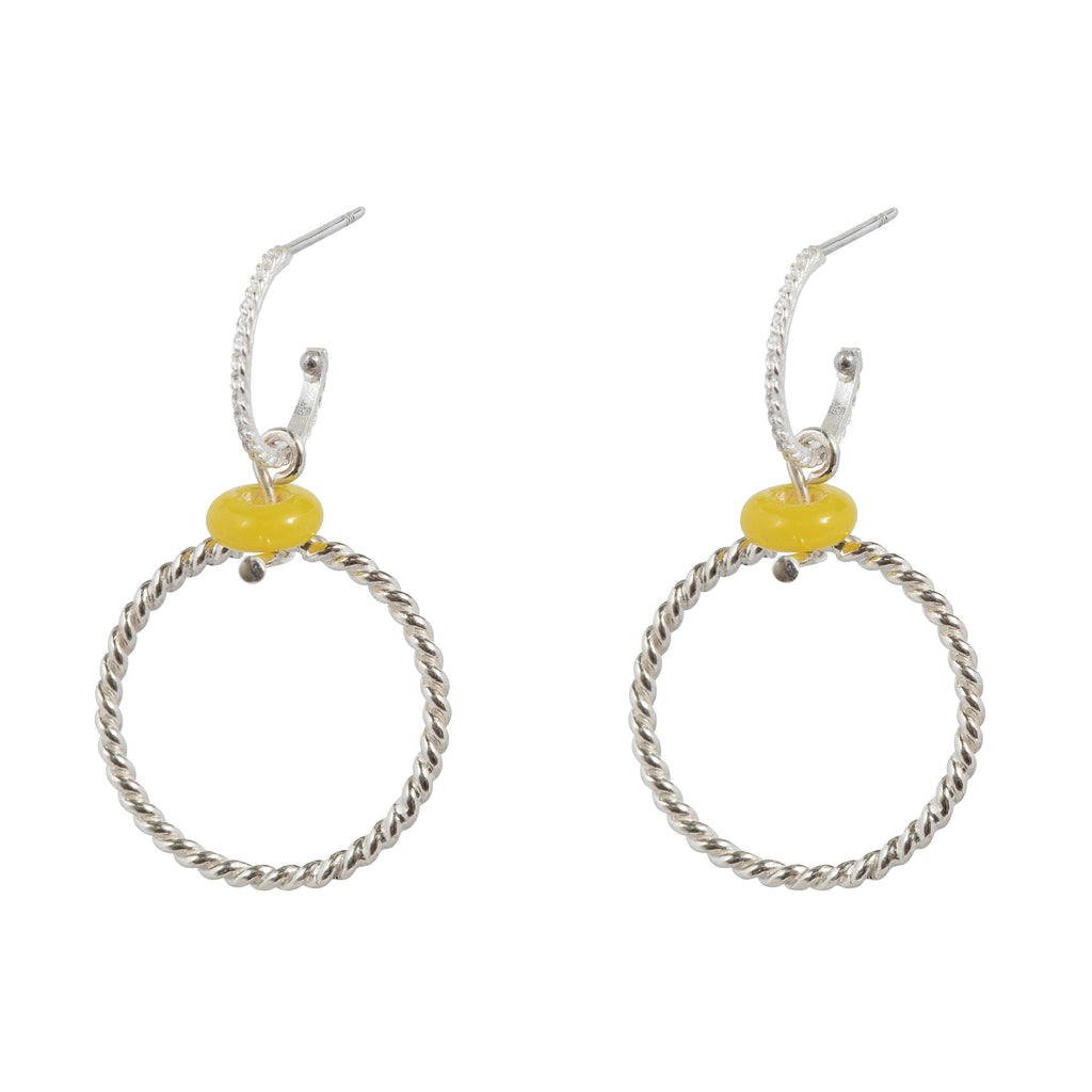 Hoop Earrings with yellow glass bead and circle