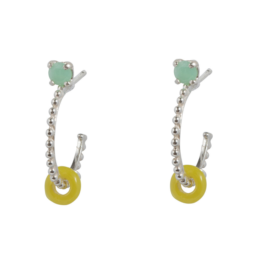 Hoop Earrings with Chrysoprase and yellow glass bead