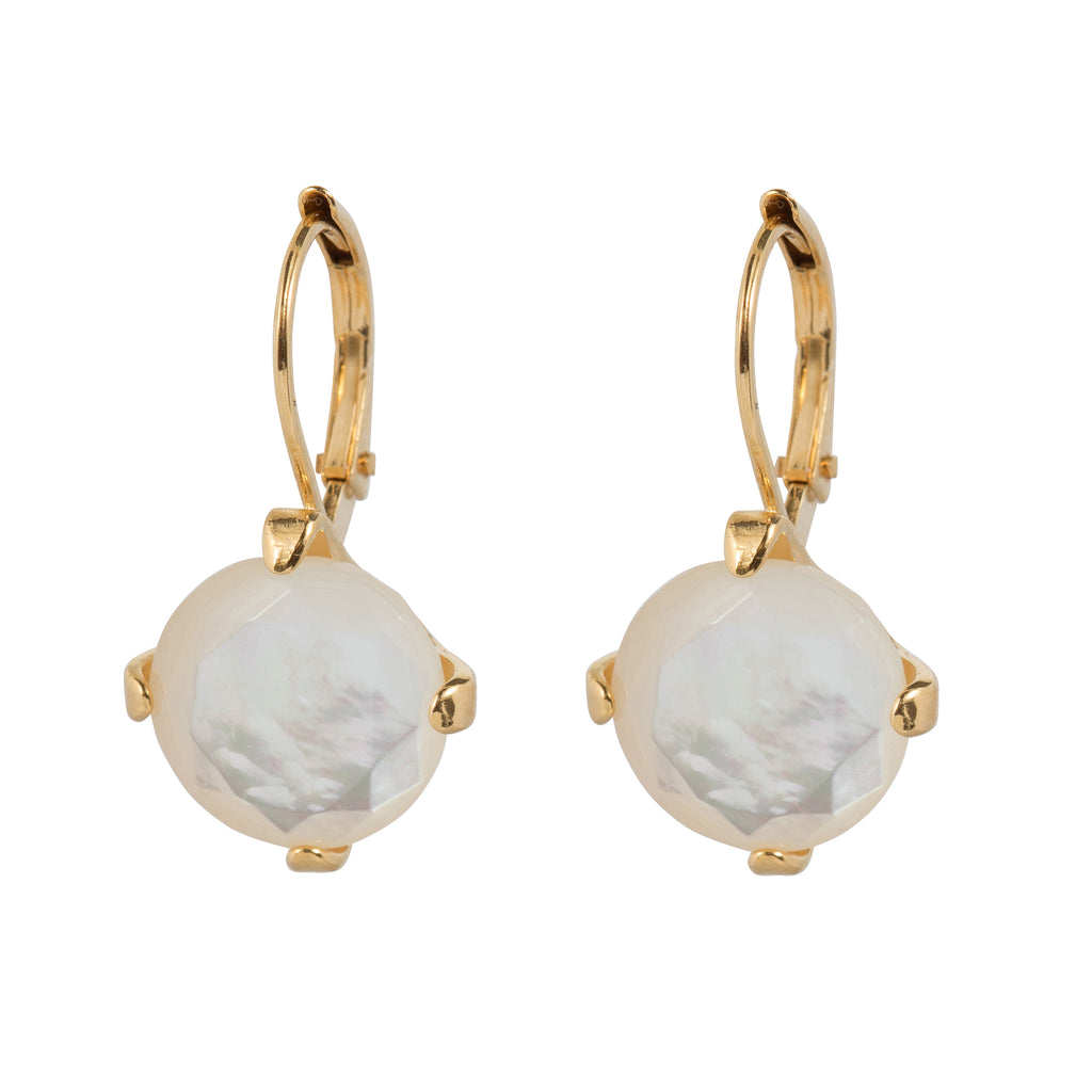 Leverback Earrings with white Mother of Pearl