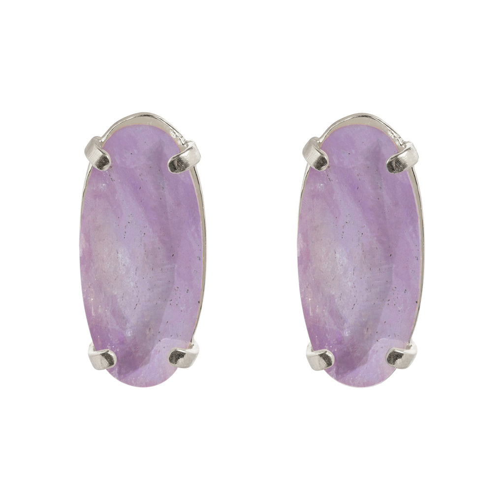 Clip Earrings with white milky Amethyst