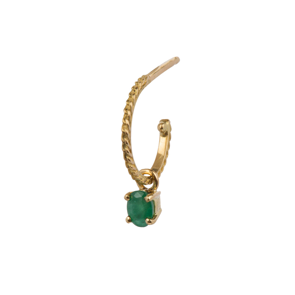 18kt Gold single Hoop Earring with Emerald
