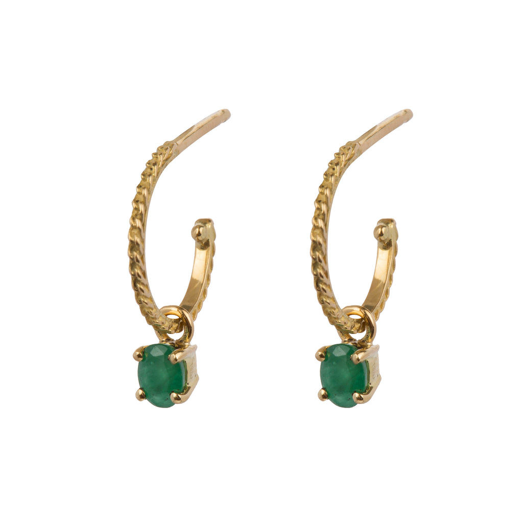 18kt Gold Hoop Earrings with Emerald