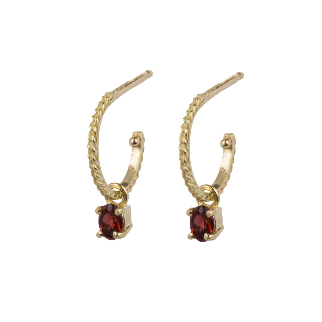 18kt Gold Hoop Earrings with Ruby