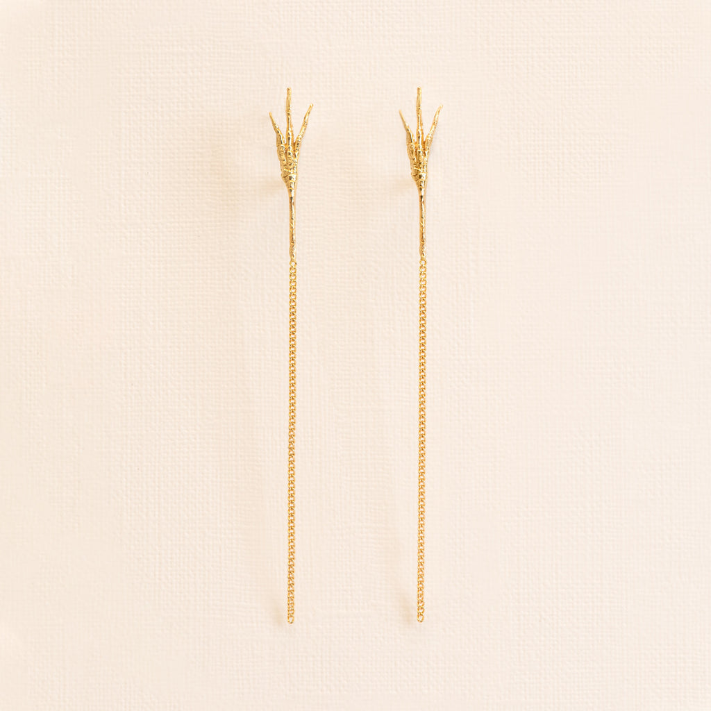18kt Gold crow's foot Stud Earrings
