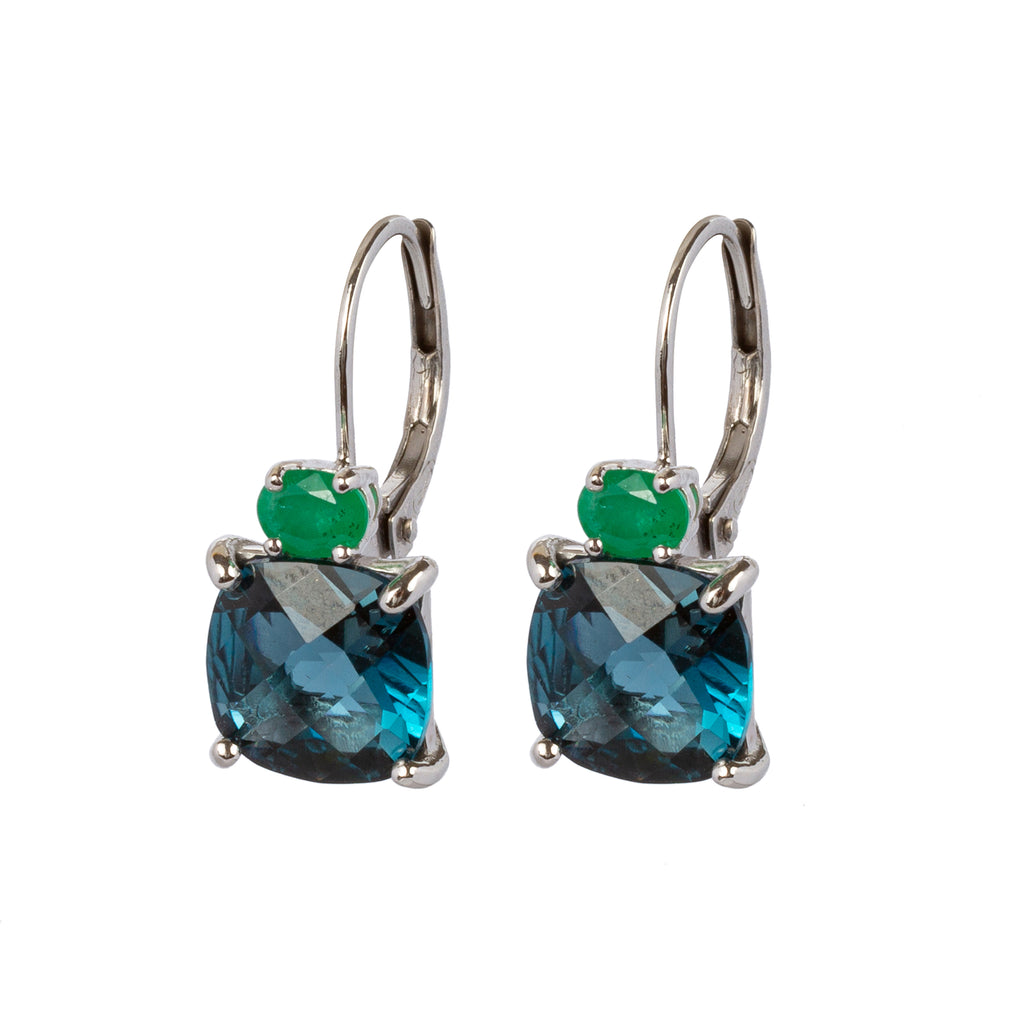 18kt Gold Leverbacks with London Blue Topaz and Emerald