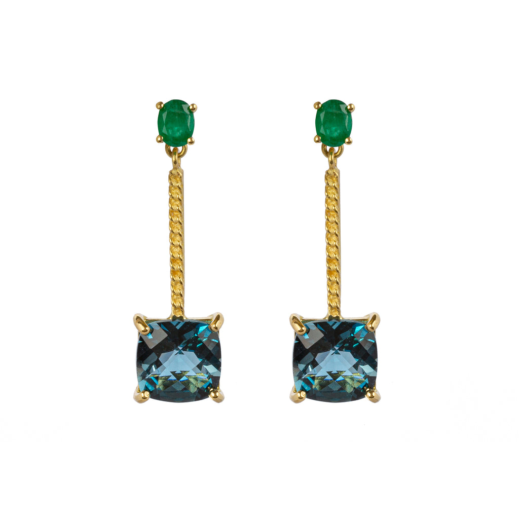 18kt Gold Stud Earrings with London Blue Topaz and Emerald