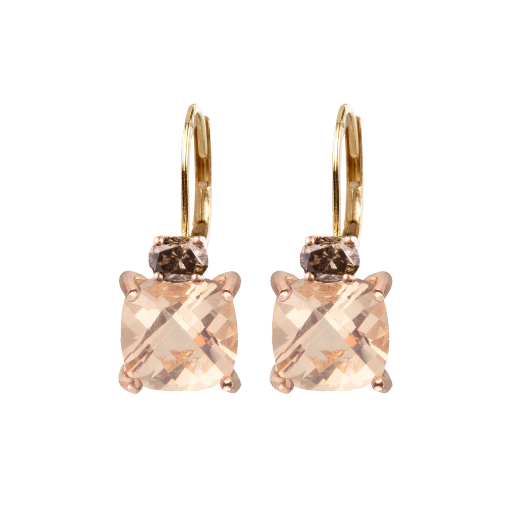18kt Gold Leverbacks with Diamond and Morganite