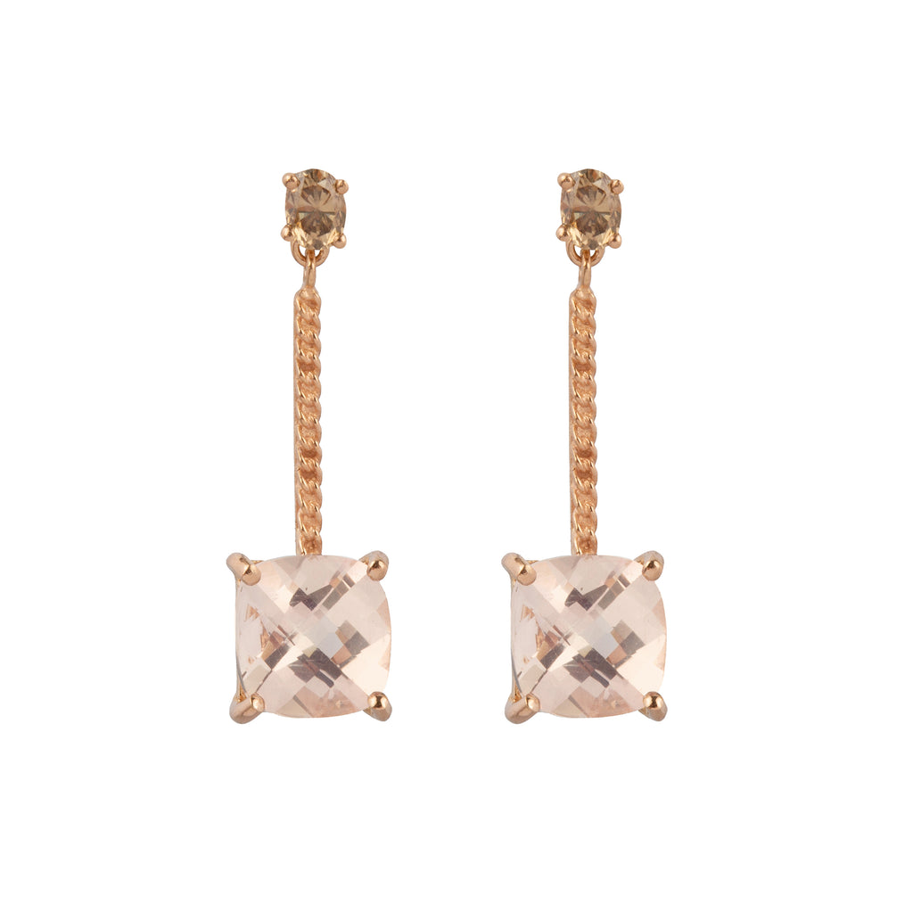 18kt Gold Stud Earrings with Diamond and Morganite