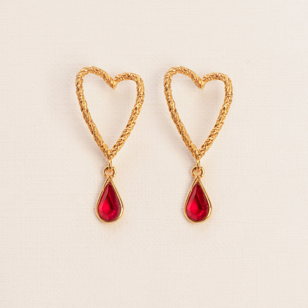 Heart shaped Stud Earrings with Garnet drop