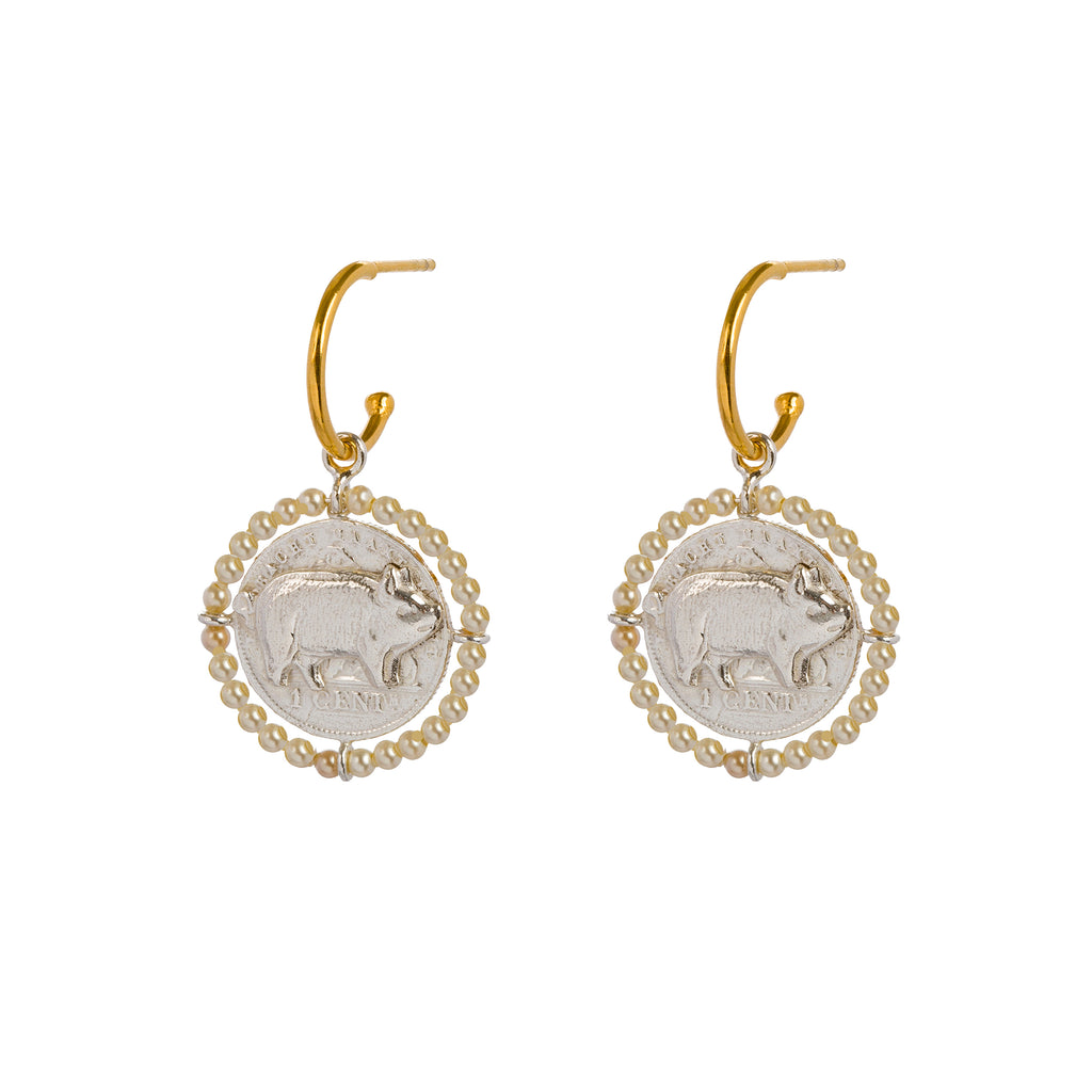 Hoop Earrings with pig amulet and Pearls