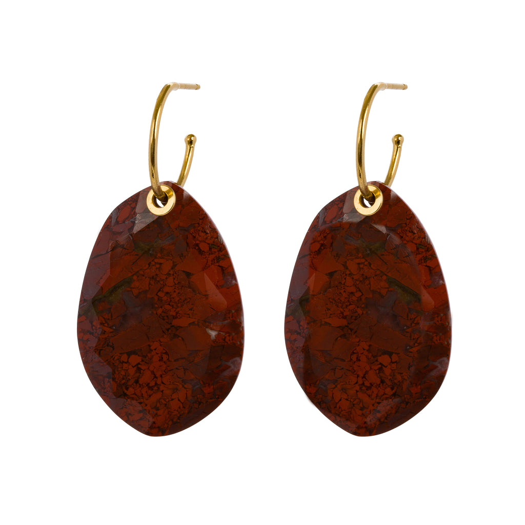 Statement Hoop Earrings with Red Moss Agate