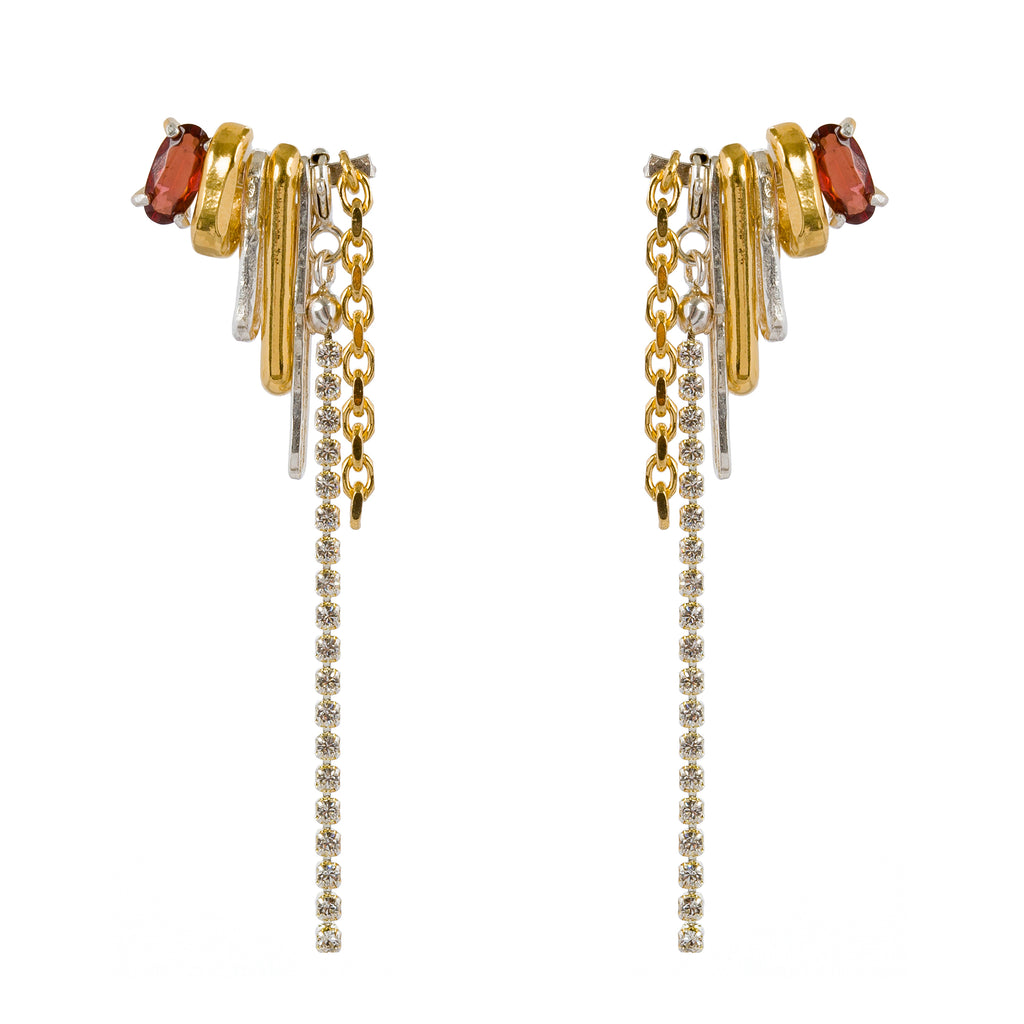 Statement Stud Earrings with chains and Garnet