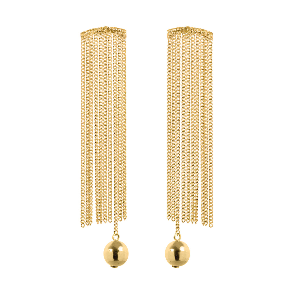 Stud Earrings with chain fringe and ball element