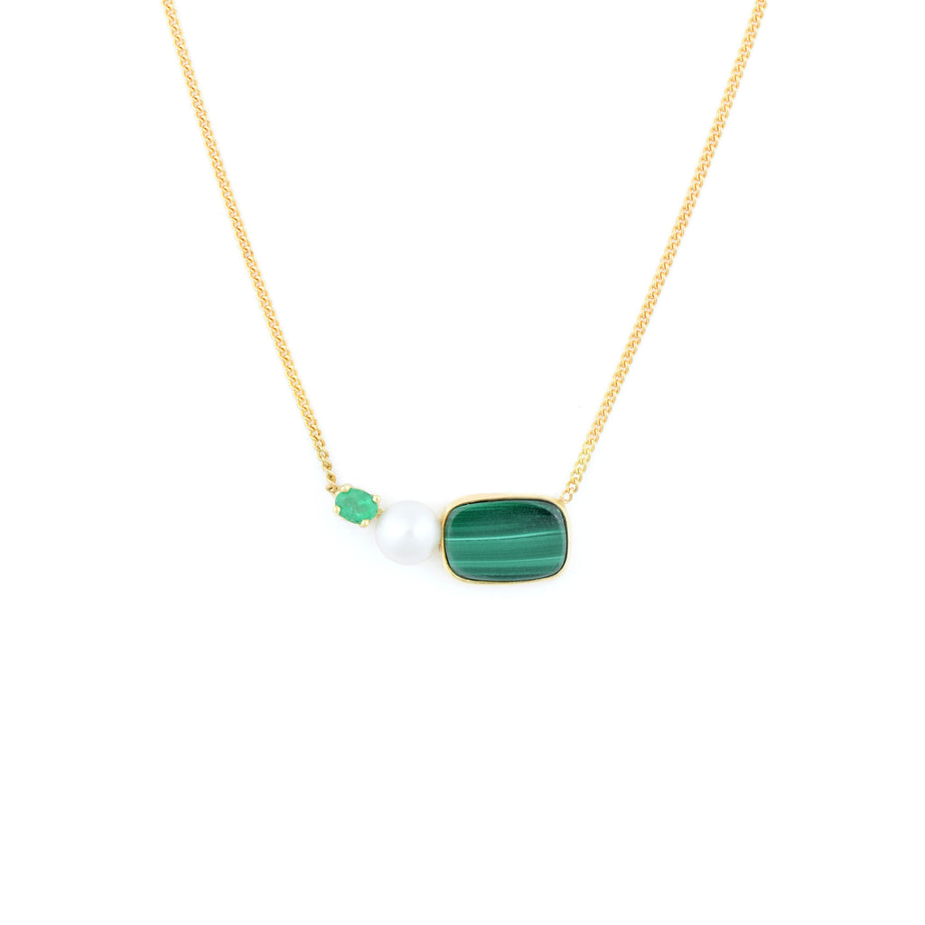 18kt Gold Necklace with Pearl and Malachite