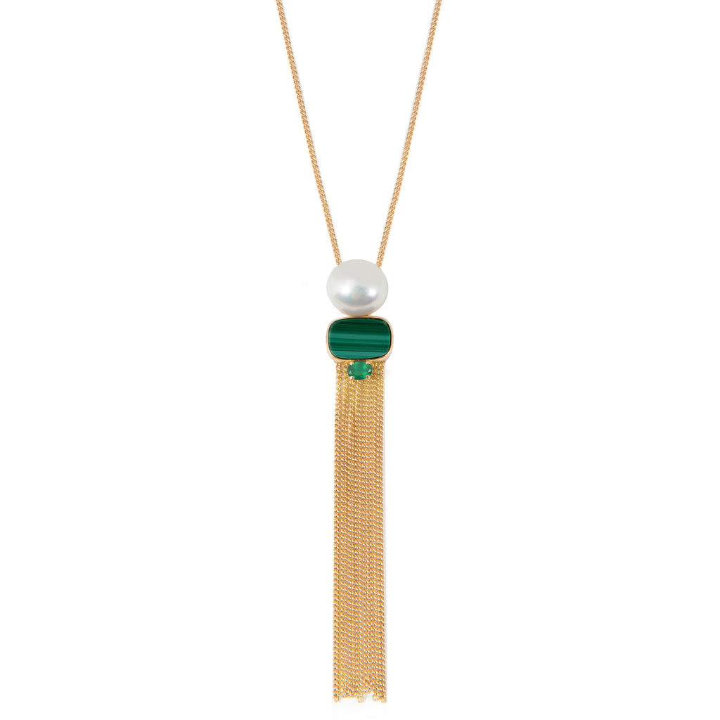 18kt Gold long Necklace with Malachite, Freshwater Pearl and Emerald