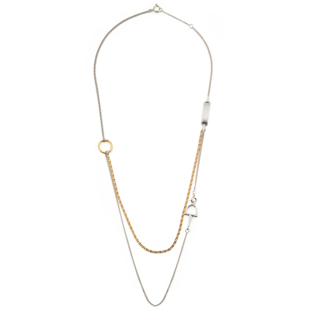 Elegant long Necklace with buckle detail and plate