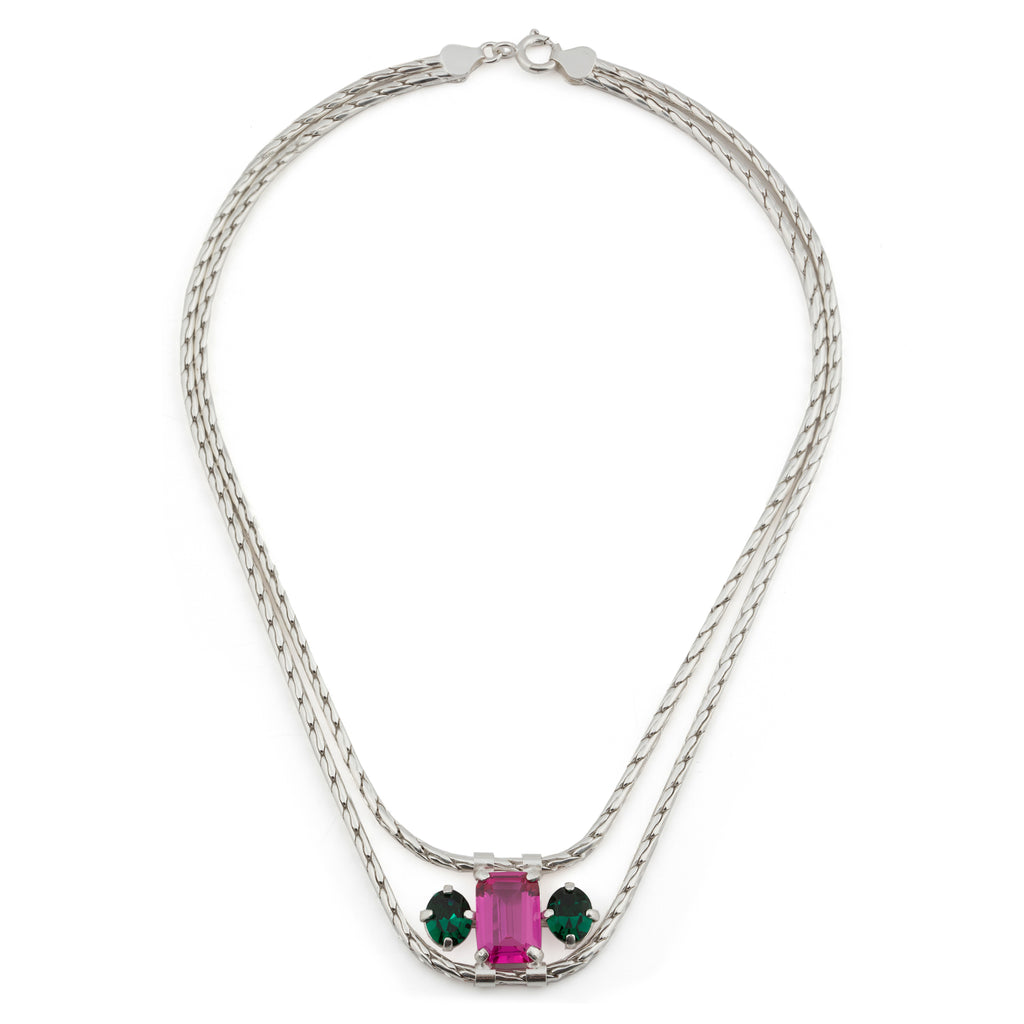 Necklace with fuchsia Corundum and emerald crystal