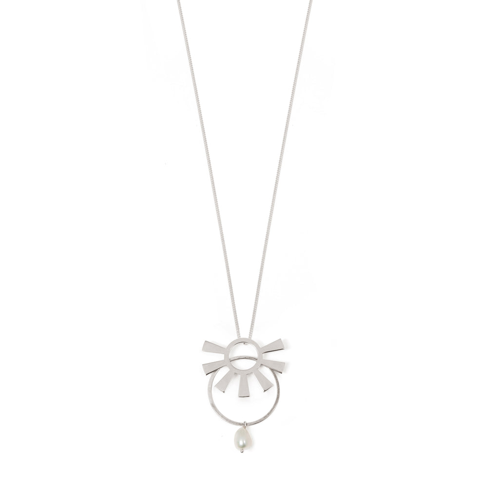 Long Necklace with sun, circle and Pearl