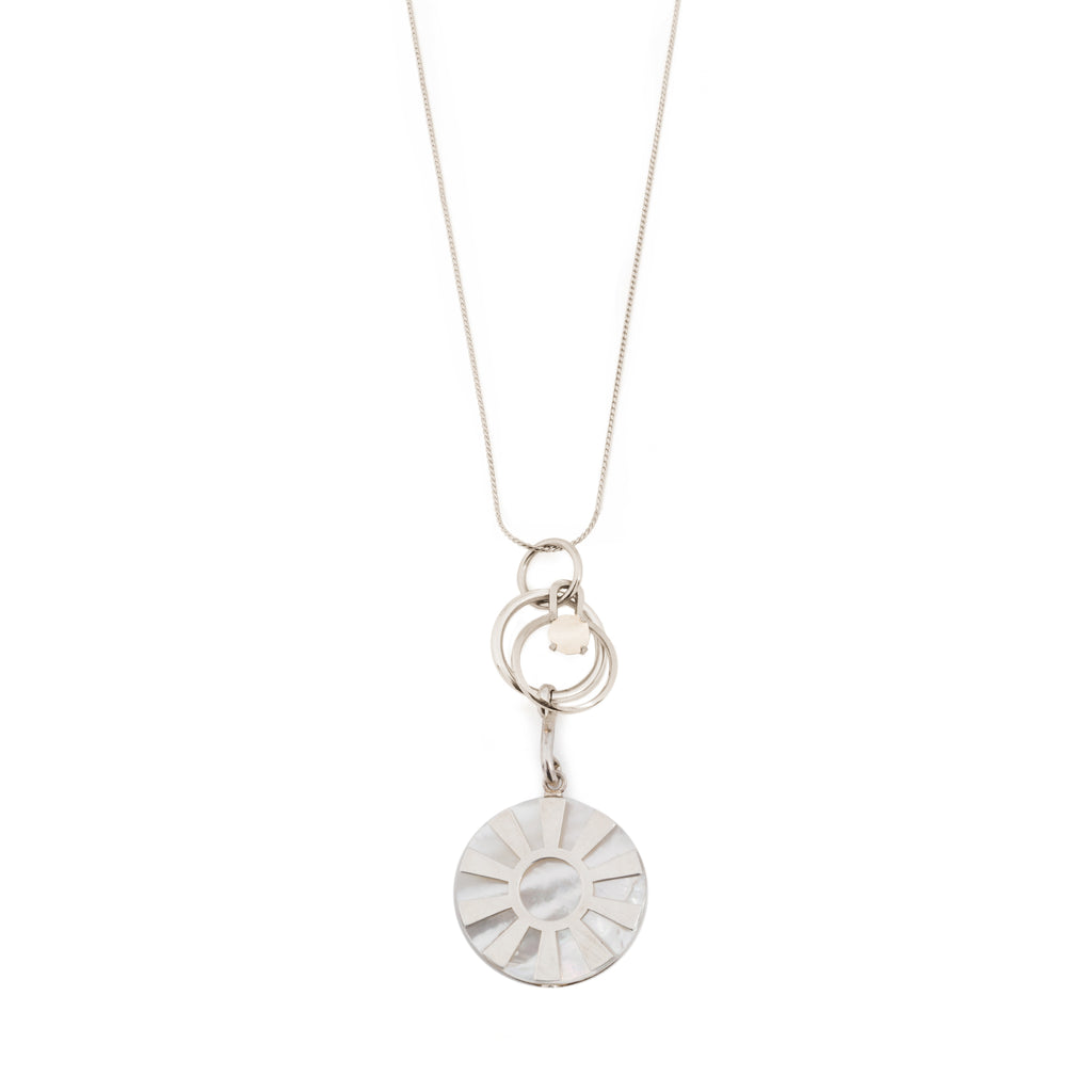 Long Necklace with circles and Mother of Pearl
