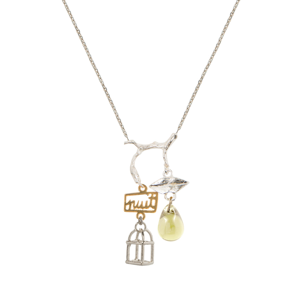 Two-toned Necklace with jonquil crystal and cage