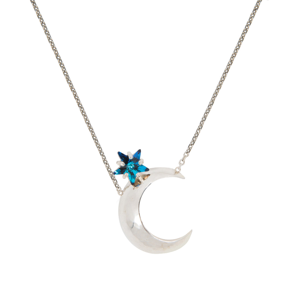 Necklace with moon and blue Swarovski star crystal