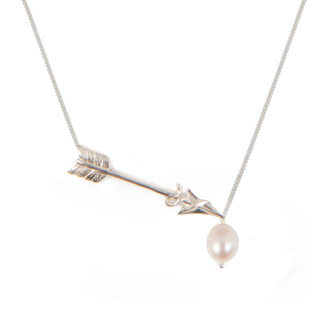 Necklace with Freshwater Pearl and cupid's arrow