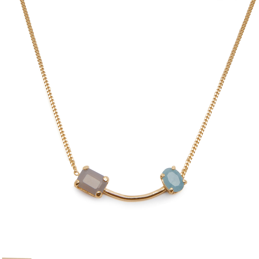 Delicate Necklace with grey Agate and Aquamarine