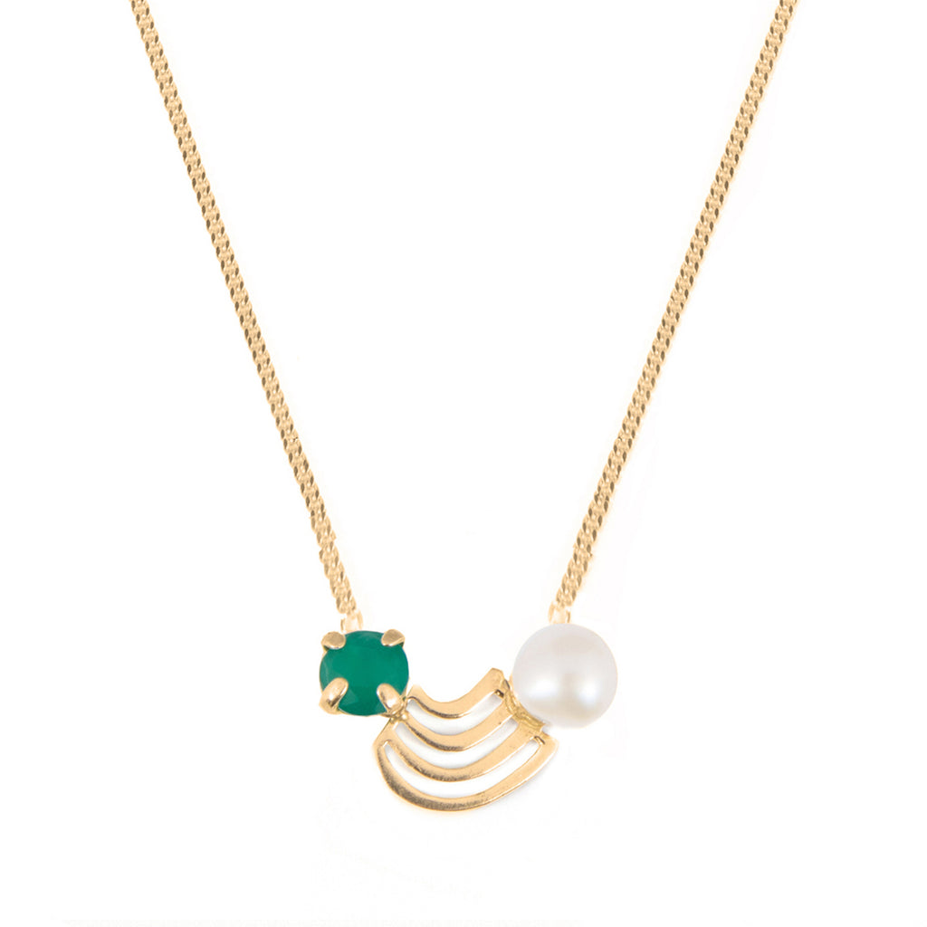 Playful Necklace with green Agate and Pearl