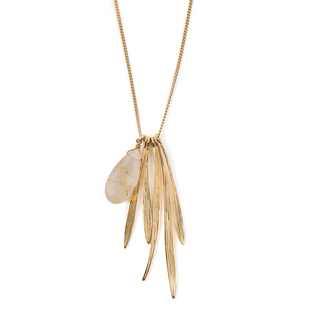 Necklace with bamboo leaves and Rutilated Quartz