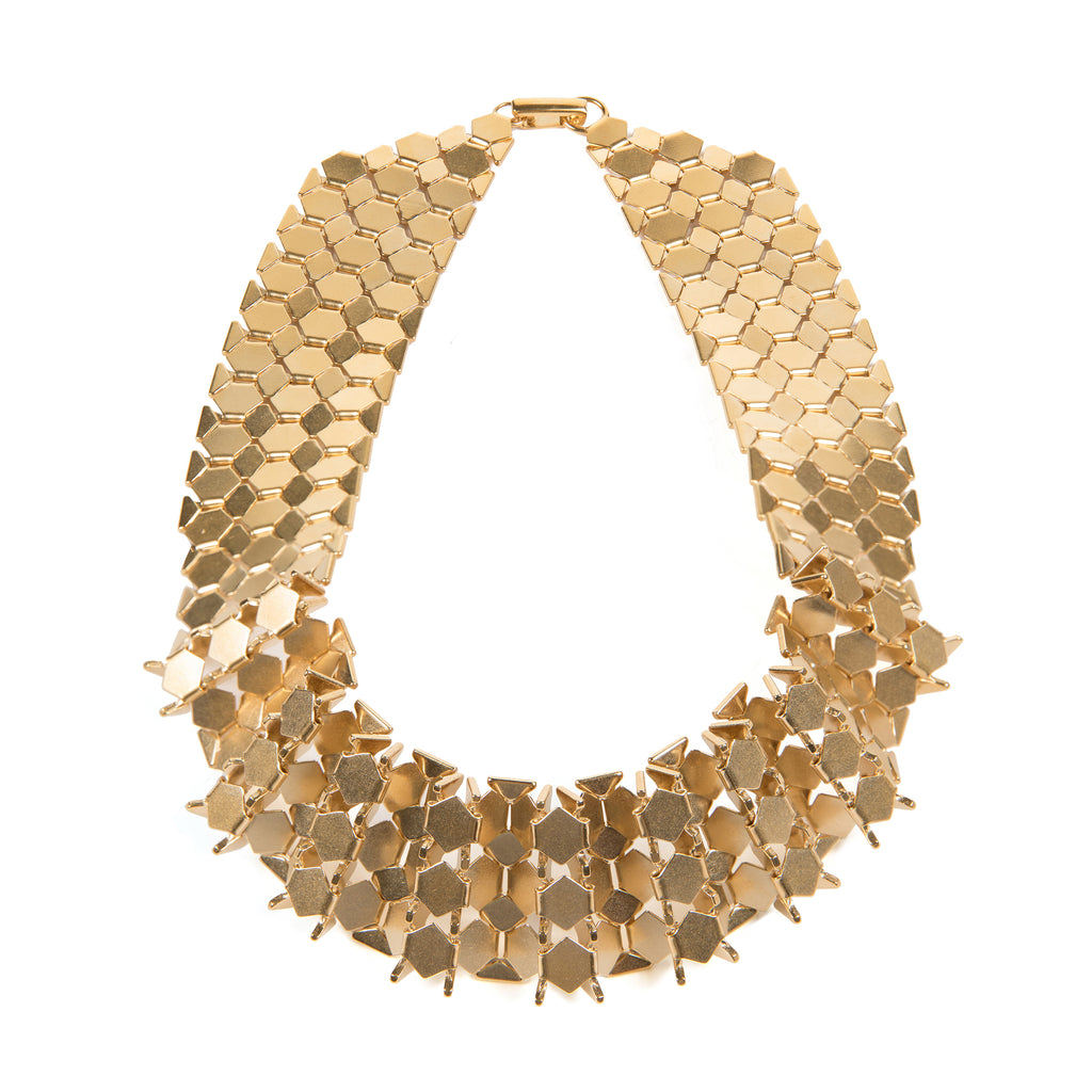 Gold plated Statement Necklace with angular shapes