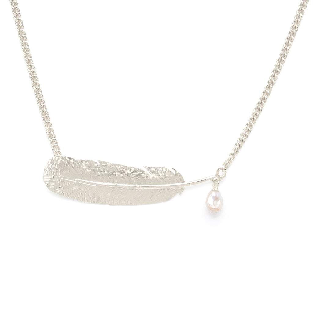 Sterling Silver feather necklace with Freshwater Pearl