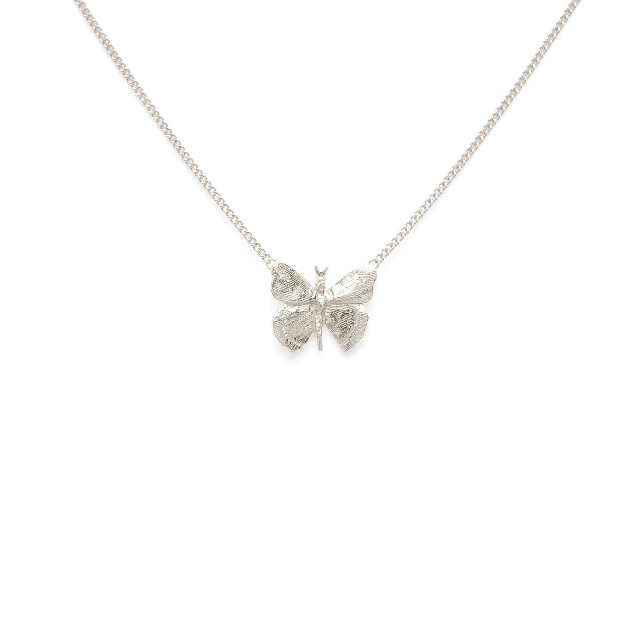 Sterling Silver fine necklace with butterfly pendant
