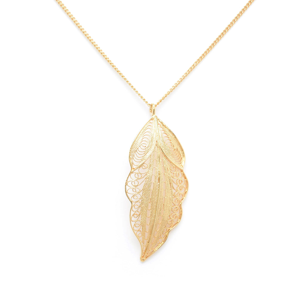 Gold plated Sterling Silver necklace with filigree leaf pendant