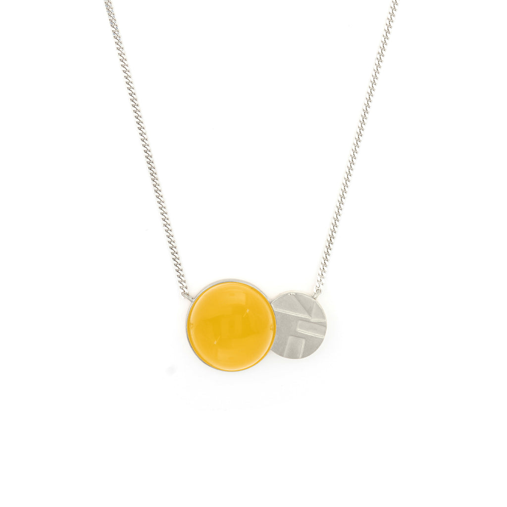 Delicate Necklace with etched detail and yellow Agate pendant
