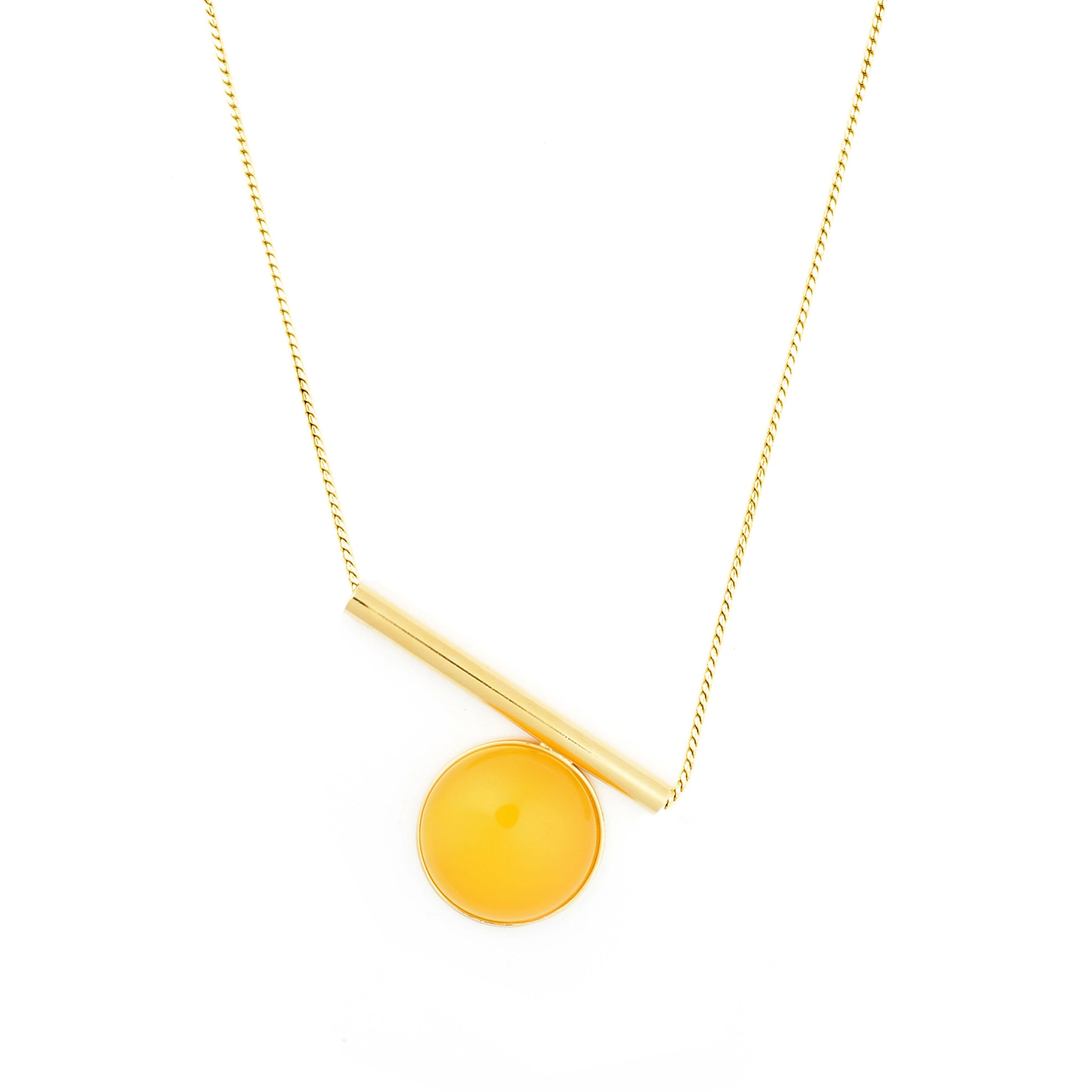 Sterling silver Necklace with yellow Agate stone