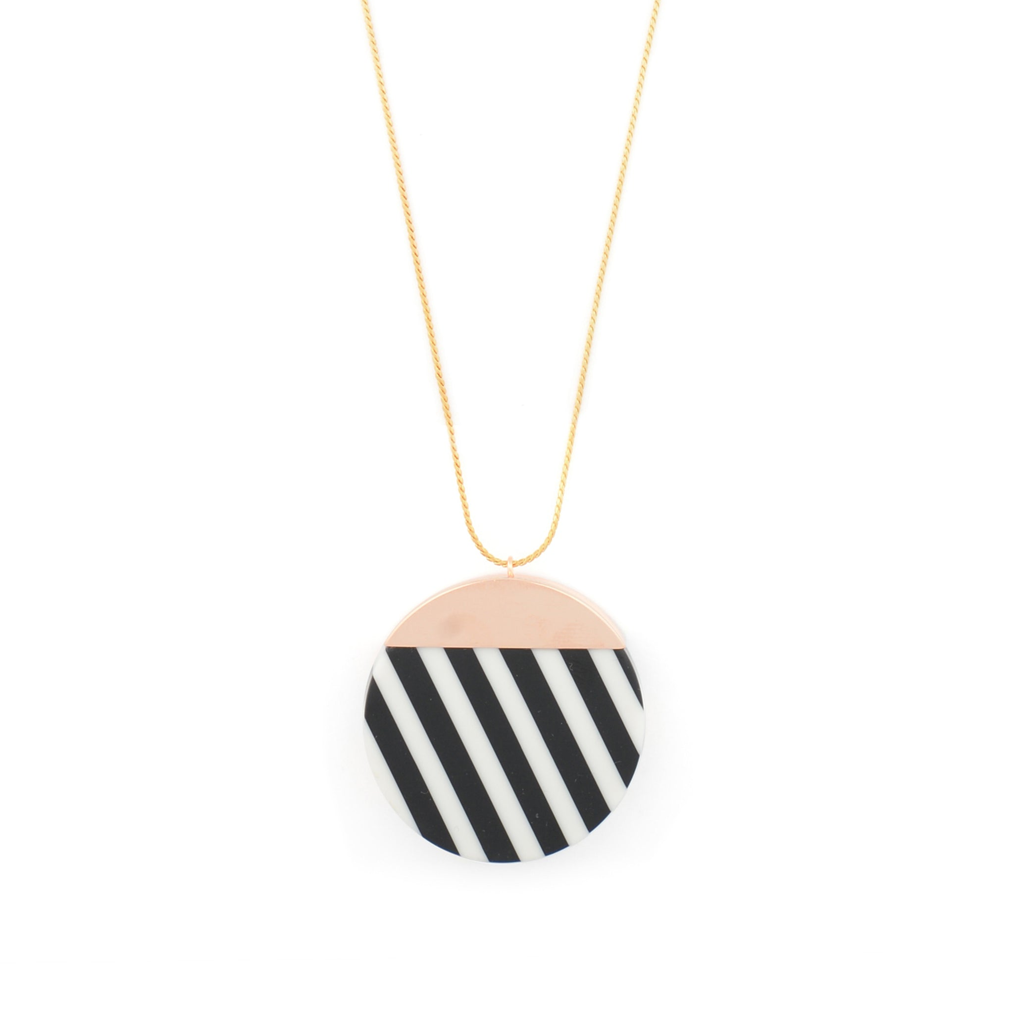 Long Necklace with black and white striped Pendant
