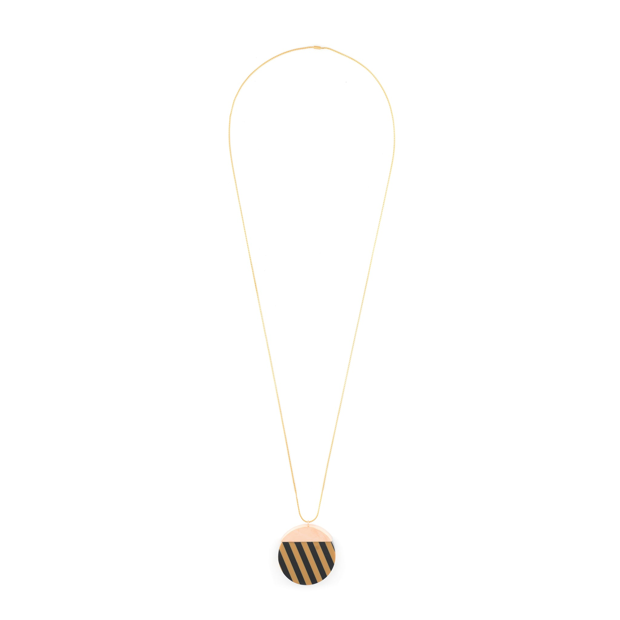 Long Necklace with black and mocca striped Pendant