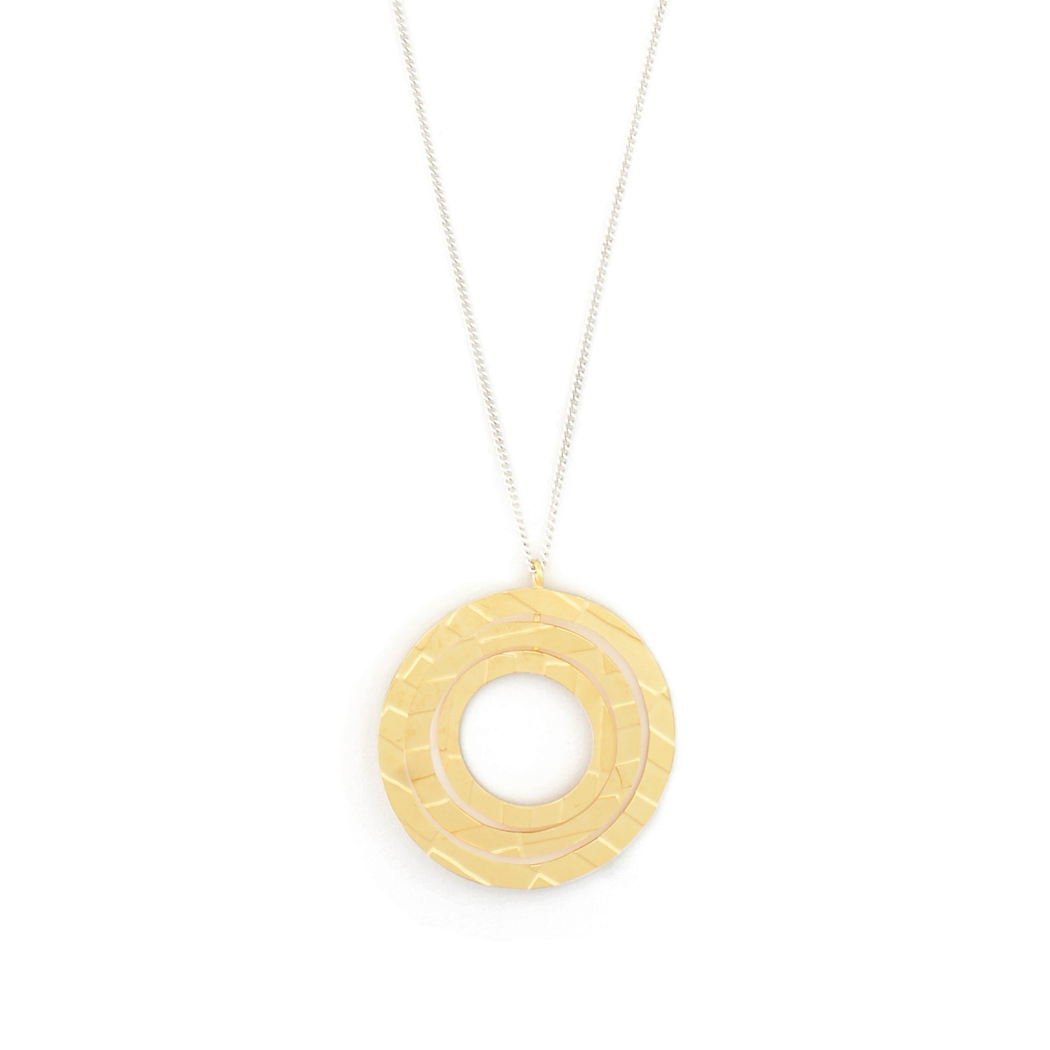 Long Necklace with etched circular Pendant