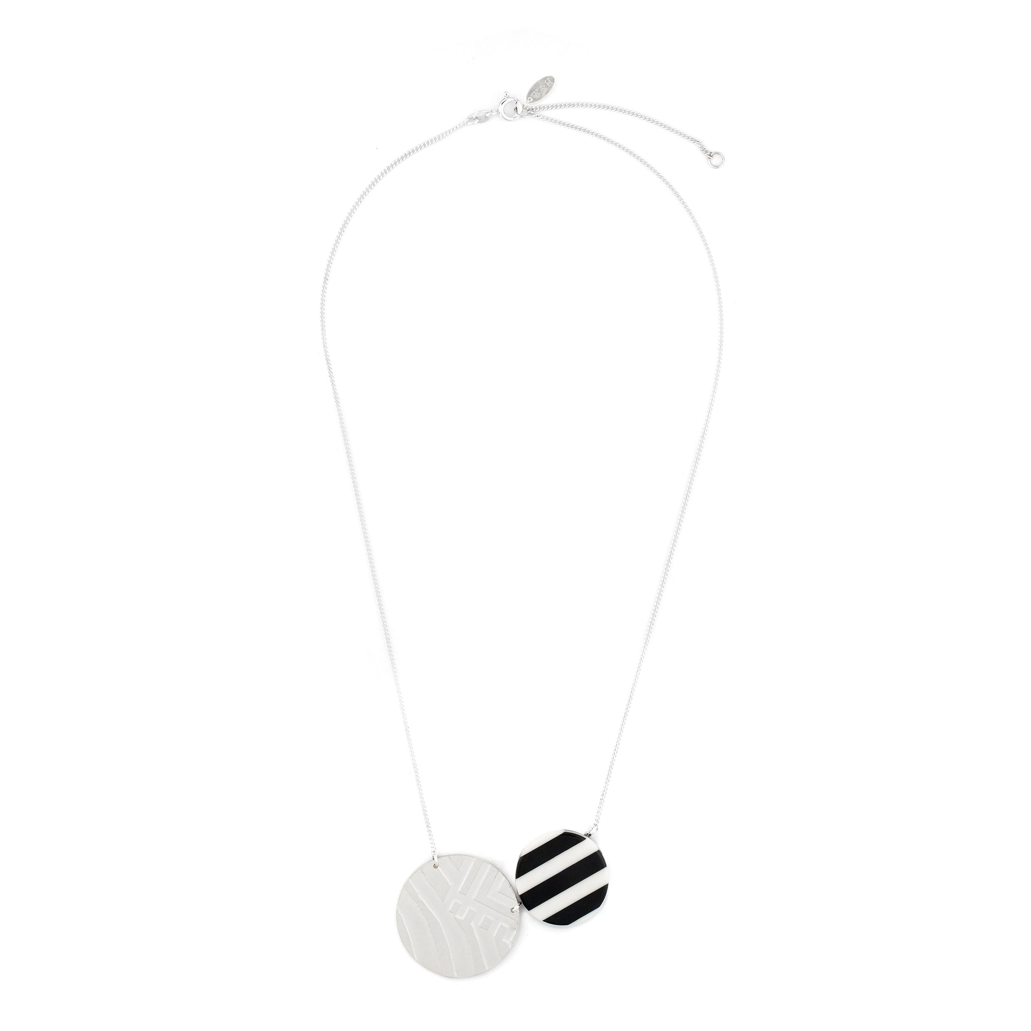 Elegant Necklace with etched and striped Pendant