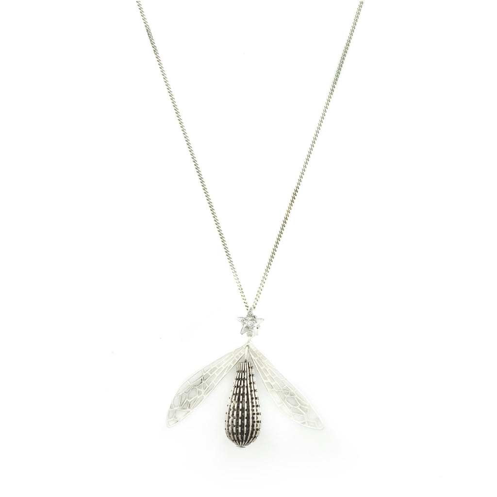 Long necklace with fly and white Crystal star