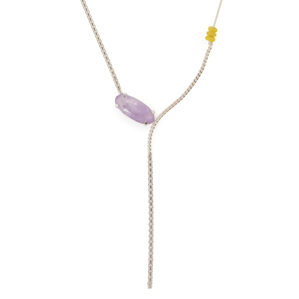 Elegant Long Necklace with milky Amethyst