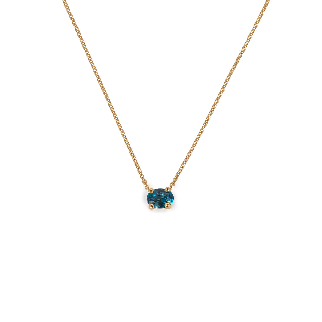 18kt Gold Necklace with London Blue Topaz pendant